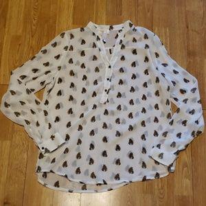 Semi sheer novelty horse print blouse